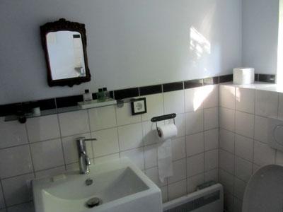 Foto van de badkamer met wastafel en wc