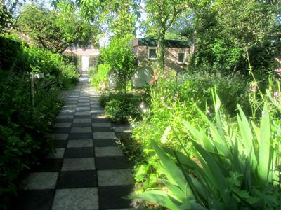 Foto van een groene tuin met een geblokt tegelpad naar de entree